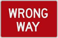 Wrong Way sign (white on red)